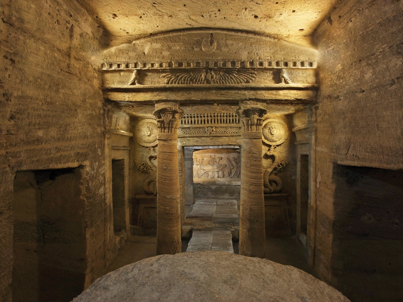 The Catacombs of Kom El Shuqqafa - Egypt Tours Portal