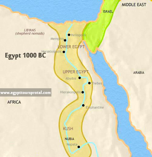 Ancient Egypt Map 1000 BCE - Egypt Tours Portal